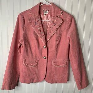 MOA pink embellished corduroy blazer jacket size M